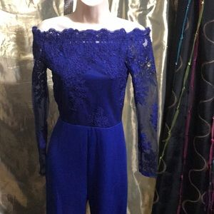 Sexy royal Blue sheer jumpsuit size Small